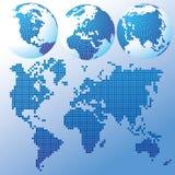 Blaues globales Set mit einer Karte Stockbild