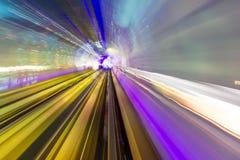 Blaues Grün-Schienen-Zusammenfassungs-Untergrundbahn-Promenade Shanghai China Stockbilder