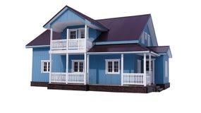 Blaues Haus auf Weiß Lizenzfreies Stockfoto