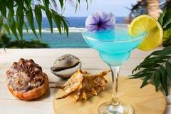 Blaues hawaiisches Cocktail auf dem tropischen Seehintergrund Stockbilder