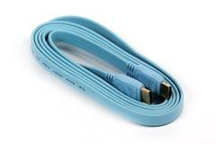 Blaues HDMI-Kabel Stockfotos