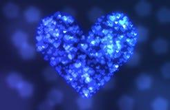 Blaues Herz von bokeh Hintergrund Stockfoto