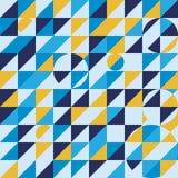 Blaues Hintergrundmuster-Vektordesign des gelben Mosaiks nahtloses lizenzfreie abbildung