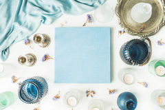 Blaues Hochzeits- oder Familienfotoalbum Lizenzfreies Stockfoto