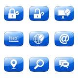 Blaues Ikonen-Design SEO Internet Sign Square Vectors Stockfotografie