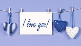 Blaues Inneres pillows ich liebe dich Lizenzfreies Stockfoto