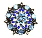 Blaues Juwel getrennt auf weißem Hintergrund Stockfotografie