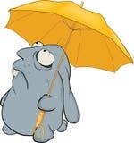 Blaues Kaninchen und Regenschirm. Karikatur Stockfotos