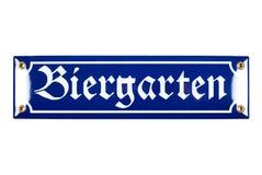 Blaues keramisches Biergarten-Zeichen stockfotografie