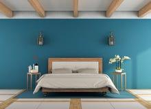 klassisches blaues schlafzimmer mit wei em boden stock abbildung bild 70993542. Black Bedroom Furniture Sets. Home Design Ideas
