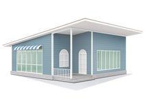 Blaues kleines nettes Haus Stockfotos