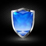Blaues Kristallschild im Chrom Stockfotos
