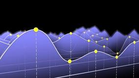 Blaues Kurvendiagramm oder Linie Diagramm Stockfoto