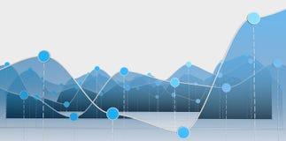Blaues Kurvendiagramm oder Linie Diagramm Lizenzfreie Stockfotografie