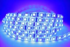 Blaues LED-Streifenlicht Stockfoto