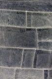 Blaues Leder, weiße Heftungen stockfotos