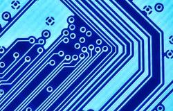 Blaues Leiterplattemakro stockfotografie