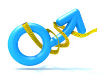 Blaues Mannsymbol mit Maßband, lizenzfreie abbildung