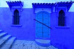 Blaues Medina, Marokko, Hocharabischfenster Stockfotos