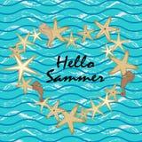 Blaues Meer nahtlos Starfish auf einem blauen Hintergrund Stockfotos