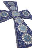 Blaues Mosaikkreuz mit weißem Hintergrund Lizenzfreies Stockbild