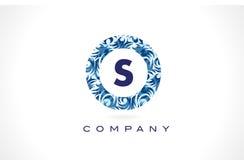 Blaues Muster Logo Design des Buchstabe-S lizenzfreie abbildung