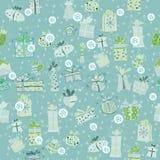 Blaues Muster mit Geschenkboxen Stockfotos