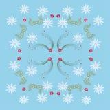 Blaues Muster mit Mistelzweig und Schneeflocken Stockfoto