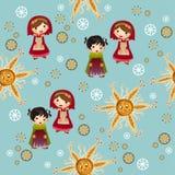 Blaues Muster mit netten Kindern Lizenzfreies Stockbild
