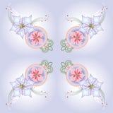 Blaues Muster mit Poinsettia und Bällen Stockfotografie