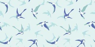 Blaues Muster mit Schwalbe lizenzfreie abbildung