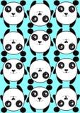 Blaues Musterhintergrund-Beschaffenheitsmuster von netten Pandas Lizenzfreies Stockbild