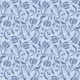 Blaues nahtloses mit Blumenmuster Vektor Abbildung