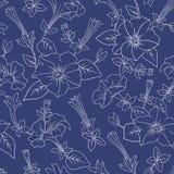 Blaues nahtloses mit Blumenmuster Lizenzfreie Stockfotos