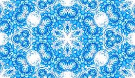 Blaues nahtloses mit Blumenmuster in gzhel Art Stockfotos