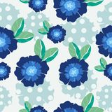 Blaues nahtloses Muster der Blume und des Blattes vektor abbildung