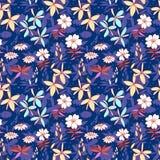 Blaues nahtloses Muster der wilden Blumen Stockbild