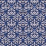Blaues nahtloses Muster des Damastes Marinefarbdesign Lizenzfreie Stockfotografie