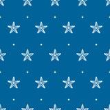 Blaues nahtloses Muster des Vektors mit Meerstarfish Lizenzfreies Stockfoto