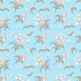 Blaues nahtloses Muster mit Blumenverzierung Lizenzfreies Stockfoto