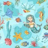 Blaues nahtloses Muster mit Meerjungfrau Lizenzfreies Stockfoto