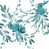 Blaues nahtloses Muster Rose blaue Blumen- und Blattaquarellillustration Lizenzfreie Stockbilder