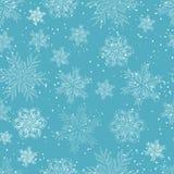 Blaues neu-jähriges nahtloses Muster von Schneeflocken Weihnachts- und des neuen Jahreshintergrund Vektor lizenzfreie abbildung