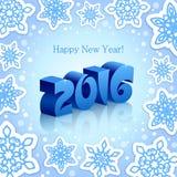 Blaues neues Jahr 2016 auf blauem Hintergrund Stockfotografie
