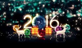 Blaues neues Jahr 2016 des Kristall-Flitter-Weihnachtsrotwild-Geschenk-3D Stockfotografie