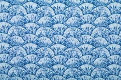 Blaues ornated Gewebe Stockbilder