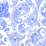 Blaues Paisley-nahtloses Muster Stockbild