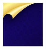 Blaues Papier mit Weinlese-Beschaffenheit und gekräuseltem Goldenem Stockfotos