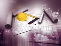 Blaues Plan- und Arbeitswerkzeug der Architektur Stockbild