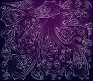 Blaues, purpurrotes, weißes indisches Muster Vektor Verzierungsarabisch Lizenzfreie Stockbilder